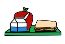 apple, milk, and sandwich on tray