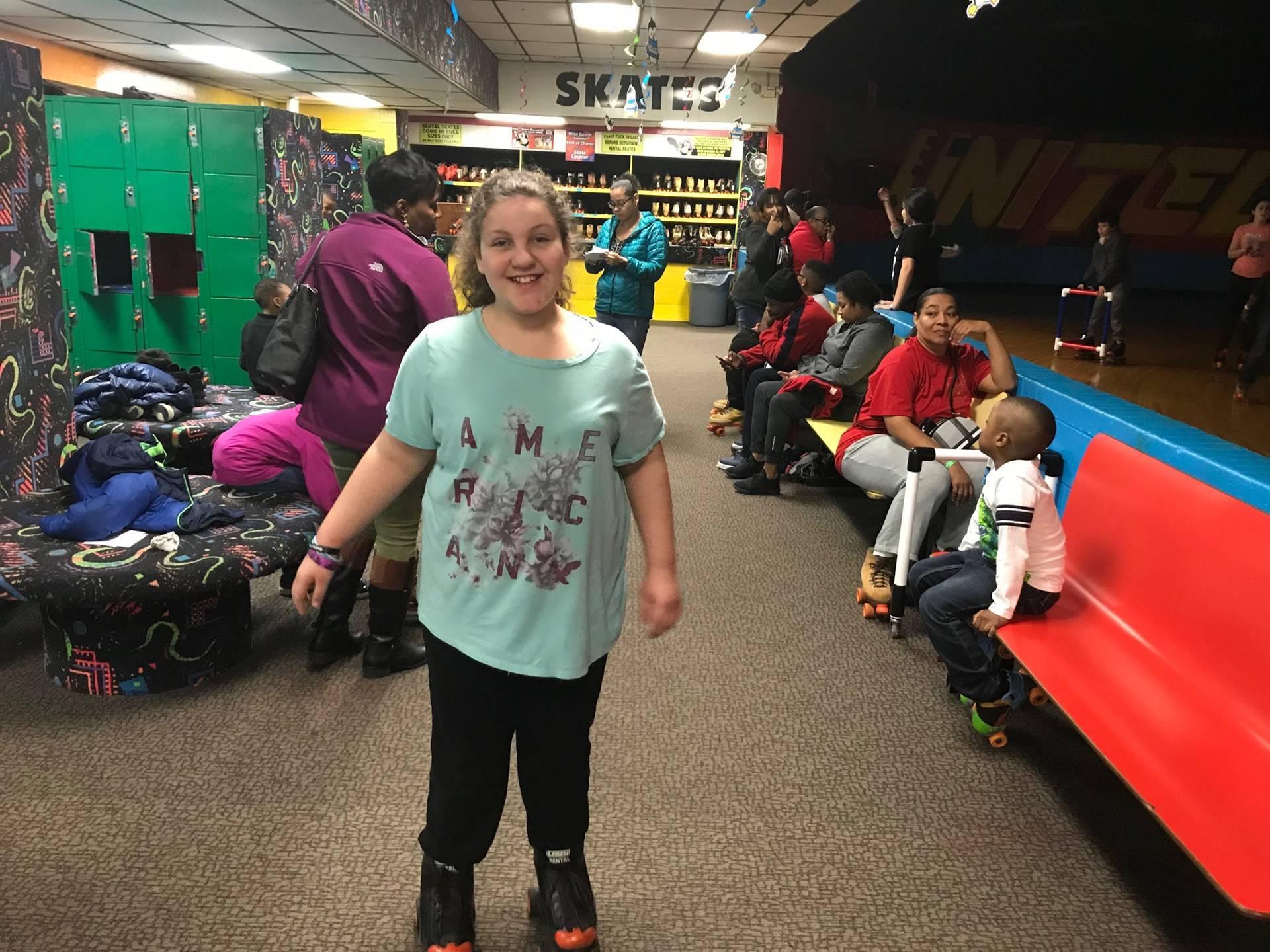 student in roller-skates