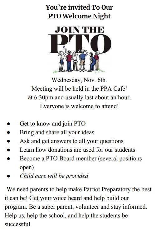 pto flier for welcome night