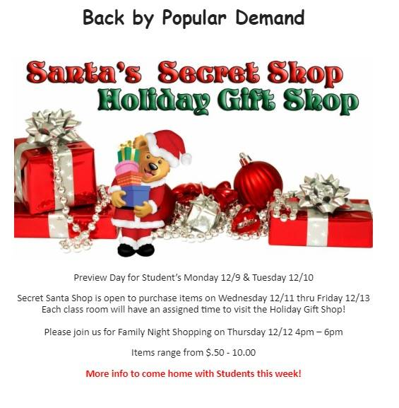 flyer for holiday shop