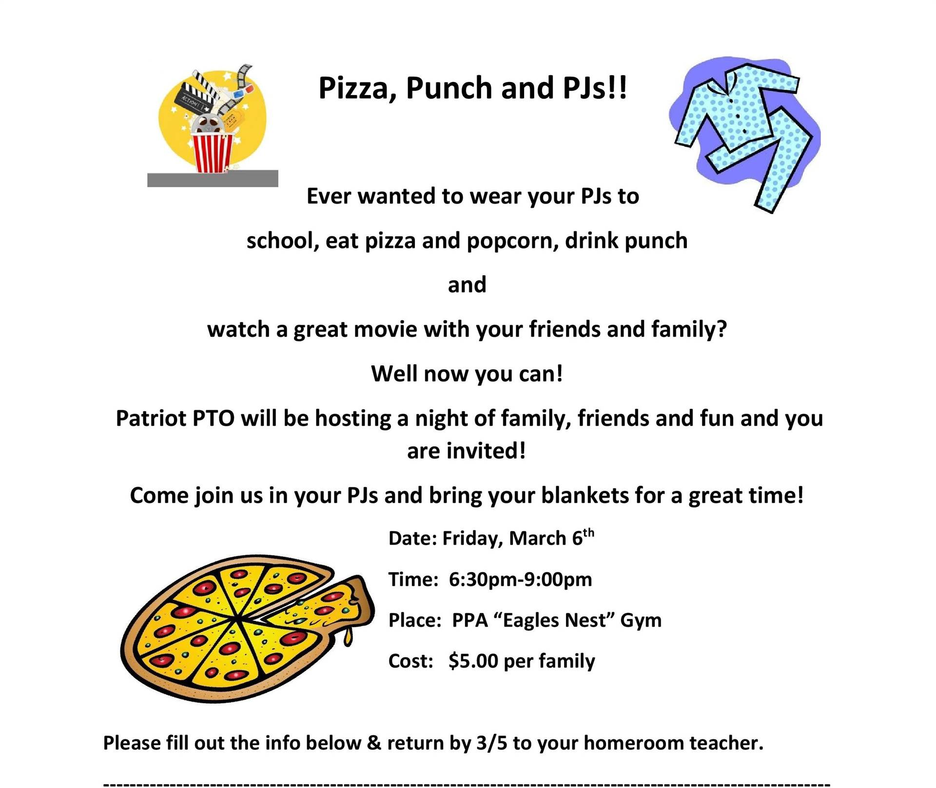 Flyer for pizza, popcorn, and PJs night